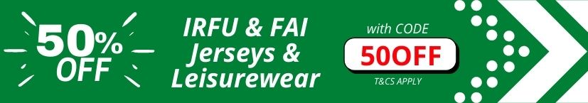 50% OFF Irish Rugby + Soccer Jerseys & Leisurewear