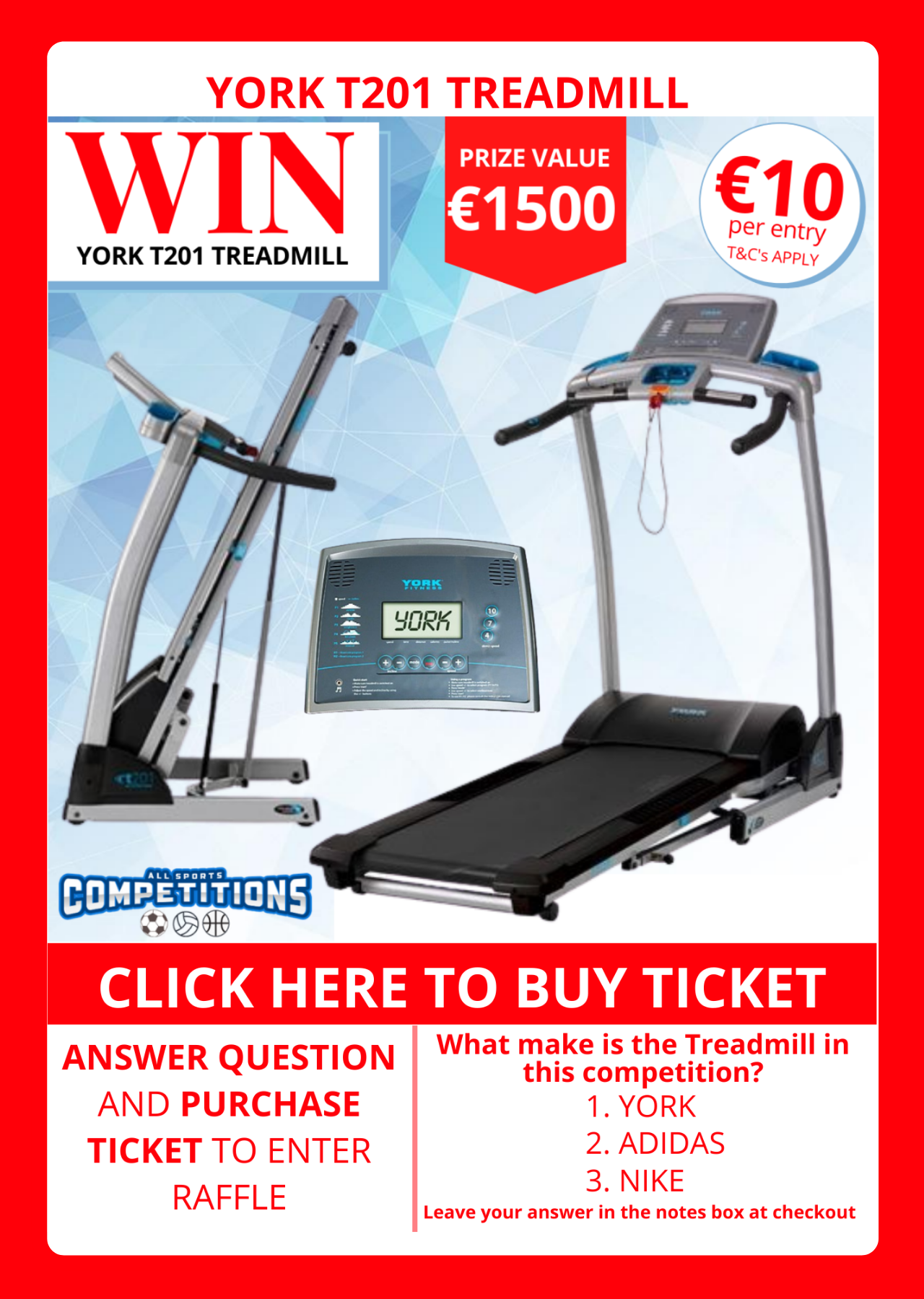 Win a Treadmill for only €10