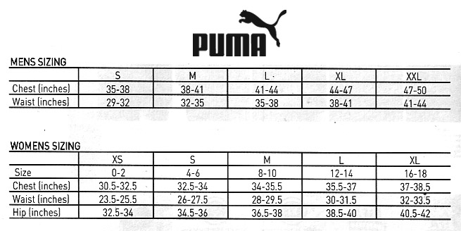 puma shoe size chart inches - Trinity