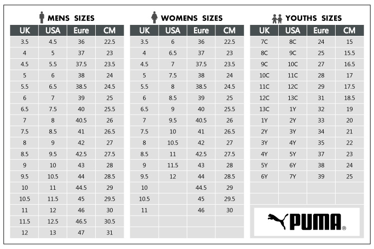 puma shoe size chart inches