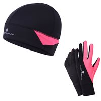 RonHill Beanie & Glove Set - Black/Pink