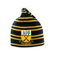 BeaghGAA Beagh Hurling Striped Beanie Crested - Black/Amber