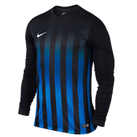 Nike L/Sleeve Striped Division II Jersey - Black/Royal Blue/White