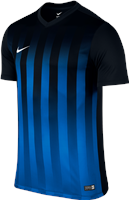 Nike S/Sleeve Striped Division II Jersey - Black/Royal Blue/White
