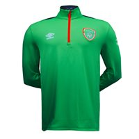 Umbro Ireland FAI Tournament 1/2 Zip Top - Adult - Green