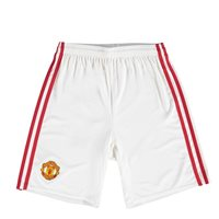Adidas Man Utd FC Kids Home Shorts 2016/17 - White/Red
