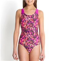 Speedo Allover Splashback V1 Girls Swimsuit - B Purple/Red