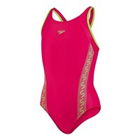 Speedo Girls Monogram Muscle Back Swimsuit - Pink/Green