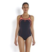 Speedo Speedfit Kickback Womens Swimsuit - Grey/Red