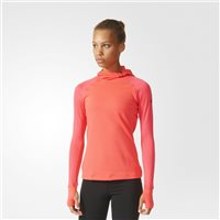 Adidas Womens TechFit Climawarm Pullover Hoodie - Red