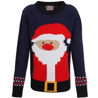 Ralawise Boys Christmas Santa Jumper - Navy/Red