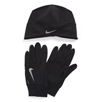 Nike Mens Dri-Fit Running Beanie/Glove Set -  Black/Silver