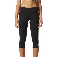 Adidas Womens D2M 3 Stripe 3/4 Tights - Black/White