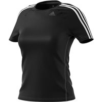 Adidas Womens D2M 3 Stripe T-Shirt - Black/White