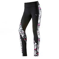 Puma Ladies Clash Tights -  Black/White/Magenta