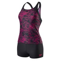 Speedo Womens Boom Allover TKI Swimsuit - B Black/Pink