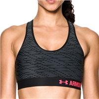 Under Armour Womens Armour Mid Bra Printed -  Black/Grey/Pink