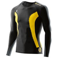 Skins DNAmic Mens Long Sleeve Top - Black/Yellow