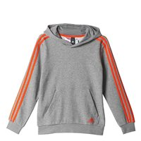 Adidas Boys 3Stripe Hoodie - Grey/Orange