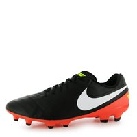 Nike Tiempo Genio Leather II FG Football Boot -  Black/Orange/Volt/White
