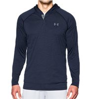 Under Armour Mens Tech Popover Henley Hooded Top - Navy
