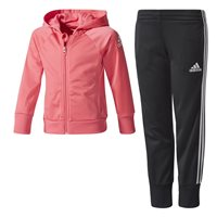 Adidas Little Girls Knit Tracksuit - Pink/Black/White