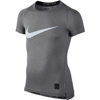 Nike Pro Boys S/sleeve Top - Grey/Black