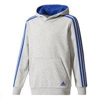 Adidas Boys 3S Pullover Hoodie - Grey/Royal