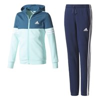 Adidas Girls Hooded Cotton Tracksuit - Navy/Aqua/White