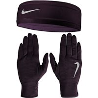Nike Womens Running Headband/Glove Set - Dark Purple