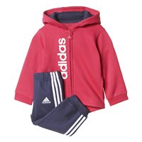 Adidas Girls FZ Hoodie Fleece Jogger Set - Pink/Navy