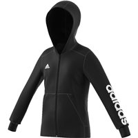 Adidas Girls Linear Full Zip Hoodie - Black/White