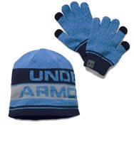 Under Armour Boys Beanie & Glove Set - Royal/Grey/Navy