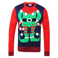 Ralawise Adults Christmas Elf Jumper - Blue/Red
