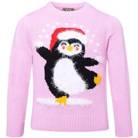 Ralawise Kids Christmas Eyelash Penguin Jumper - Pink
