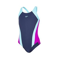 Speedo Girls Essential Speedback Swimsuit - Navy/Blue