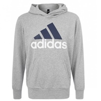 Adidas Mens Essentials Linear Pullover Hoodie - Grey