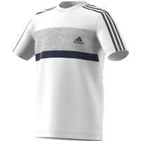Adidas Boys SID Short Sleeve T-Shirt - White/Grey/Navy