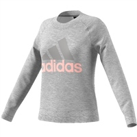 Adidas Womens Essentials Linear Sweat Top - Grey/Pink