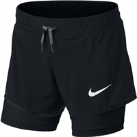 Nike Girls 2in1 Shorts - Black/Black