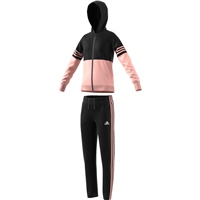 Adidas Girls Hooded PES Tracksuit - Black/Pink