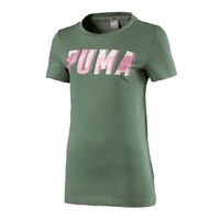 Puma Girls Style Graphic Tee - Laurel Wreath Green