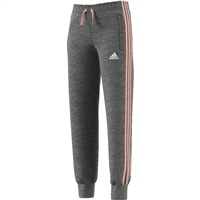 Adidas Girls 3 Stripe Slim Pant - Grey/Coral/White