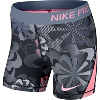 Nike Girls Nike Pro AOP 1 Short - Black/Lilac/Pink