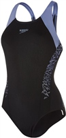 Speedo Boom Splice Racerback Swimsuit - Black/Grey