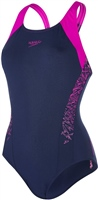 Speedo Boom Splice Racerback Swimsuit - Navy/Purple