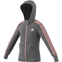 Adidas Girls 3S Full Zip Hoodie - Grey/Pink