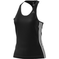 Adidas Womens D2M 3 Stripe Tank - Black/White