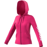 Adidas Womens Linear Full Zip Hoodie - Pink/White