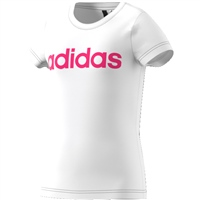Adidas Girls Linear T-Shirt - White/Pink